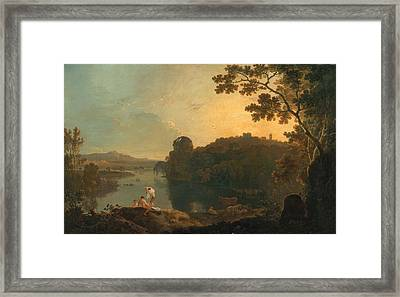 River Scene- Bathers And Cattle Framed Print by Richard Wilson