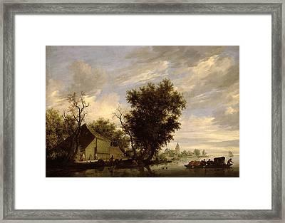 River Scene With A Ferry Boat Framed Print by Salomon van Ruysdael