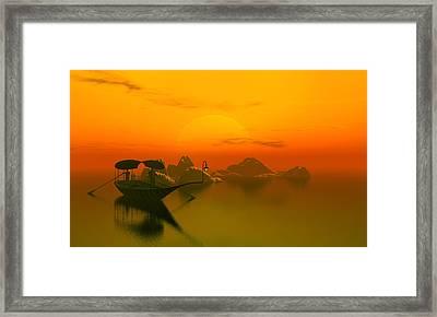 River Sunset Framed Print by John Junek
