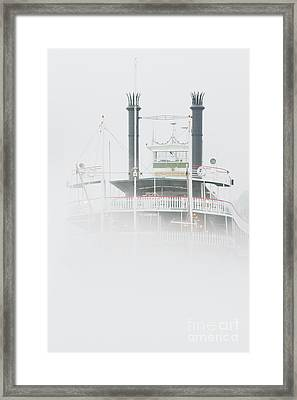 Riverboat In The Fog Framed Print by Jeremy Woodhouse