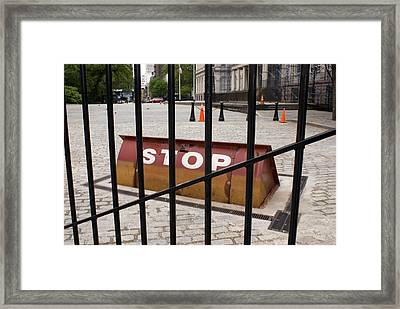 Road Blocker At New York City Hall. Framed Print by Mark Williamson