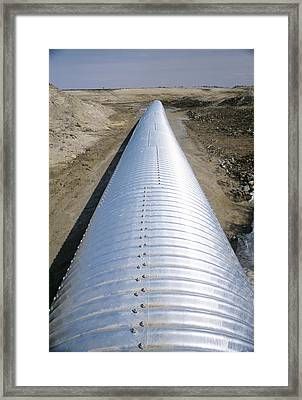 Road Drainage Pipe Framed Print by Alan Sirulnikoff