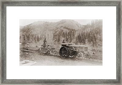 Road Grader Pulled By A Steel Wheeled Framed Print by Everett