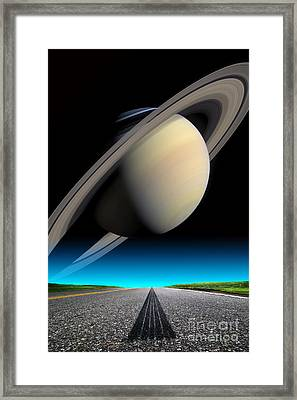 Road To Saturn Framed Print by Larry Landolfi and Photo Researchers