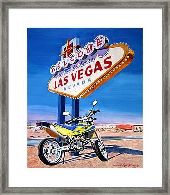 Road Trip To Vegas Framed Print by David Lloyd Glover