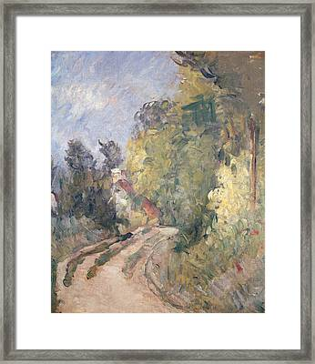 Road Turning Under Trees Framed Print by Paul Cezanne
