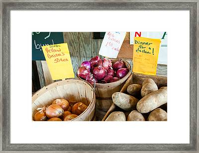 Roadside Produce Stand Onions And Potatoes Framed Print by Denise Lett
