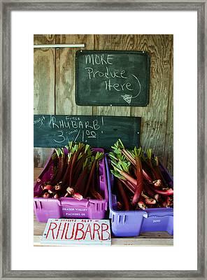 Roadside Produce Stand Rhubarb Framed Print by Denise Lett
