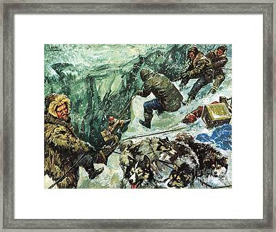 Roald Amundsen's Journey To The South Pole Framed Print by Luis Arcas Brauner