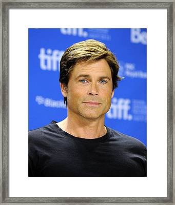 Rob Lowe At The Press Conference Framed Print by Everett