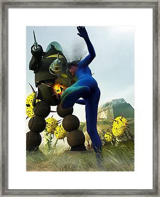 Robot Fighter V2 Framed Print by Michael Knight
