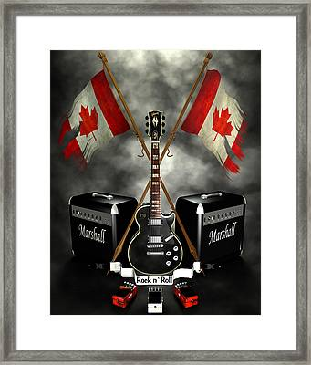 Rock N Roll Crest- Canada Framed Print by Frederico Borges