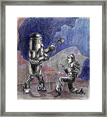 Rocket Man And Robot Framed Print by Mel Thompson