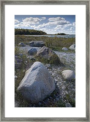 Rocks Along The Shore At North Point Framed Print by Randall Nyhof