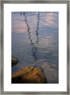 Rocks And Reflection Framed Print by Steven Ainsworth