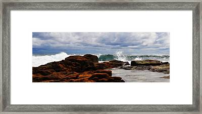 Rocks And Surf Framed Print by Phill Petrovic