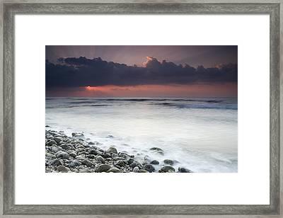 Rocky Beach At Sunrise Hawf Protected Framed Print by Sebastian Kennerknecht