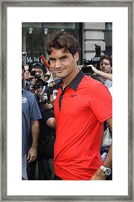 Roger Federer At A Public Appearance Framed Print by Everett