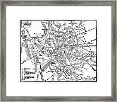 Roman Empire: Map Of Rome Framed Print by Granger