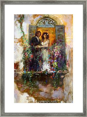 Romance In Venice  Fragment Balcony Framed Print by Ylli Haruni