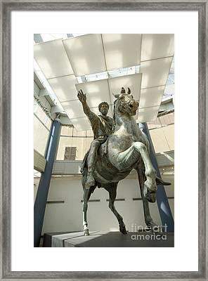 Rome Italy. Capitoline Museums Emperor Marco Aurelio Framed Print by Bernard Jaubert