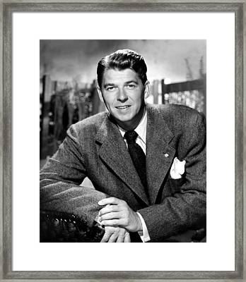 Ronald Reagan, From Shes Working Her Framed Print by Everett