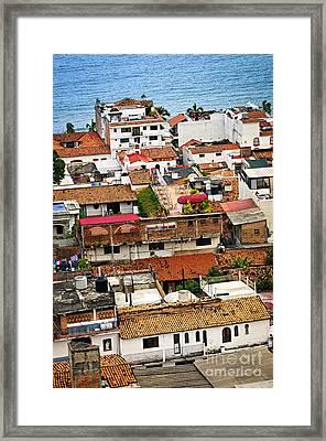 Rooftops In Puerto Vallarta Mexico Framed Print by Elena Elisseeva