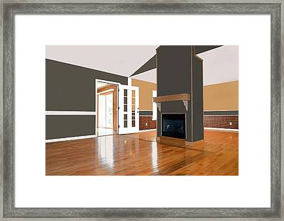 Room With Fireplace Framed Print by Susan Leggett