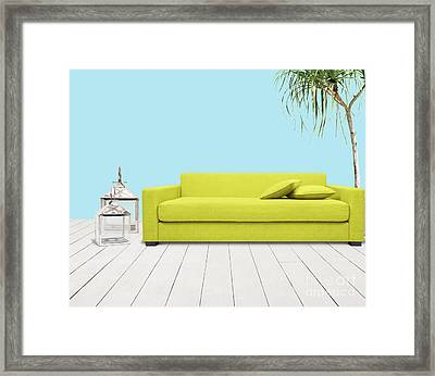 Room With Green Sofa Framed Print by Atiketta Sangasaeng