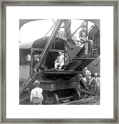 Roosevelt At Panama Canal Framed Print by Granger