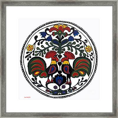 Rooster Tree Framed Print by Ania M Milo
