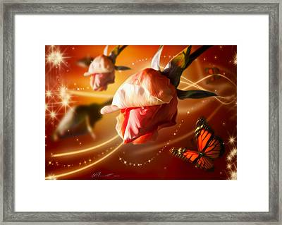 Rose And Butterfly Framed Print by Svetlana Sewell