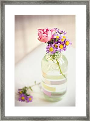 Roses And Aster In Glass Bottle Framed Print by Helena Schaeder Söderberg