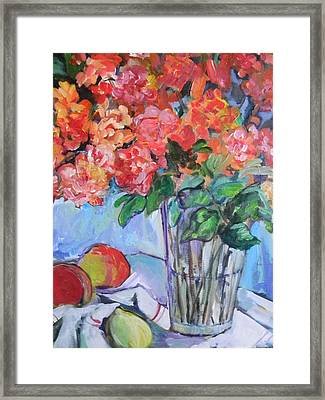 Roses And Peaches Framed Print by Carol Mangano