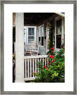 Roses And Rocking Chairs Framed Print by Susan Savad
