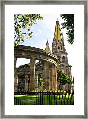 Rotunda Of Illustrious Jalisciences And Guadalajara Cathedral Framed Print by Elena Elisseeva