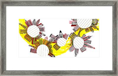 Rounded Cities Framed Print by Catarina Bessell