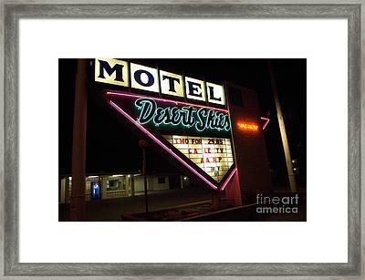 Route 66 Desrt Skies Motel Neon Framed Print by Bob Christopher