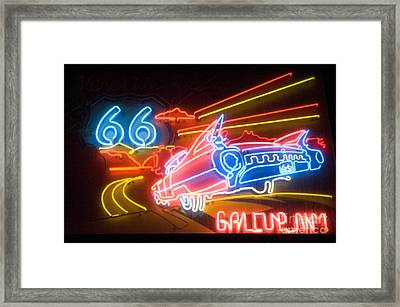 Route 66 Neon Gallup Nm Framed Print by Bob Christopher