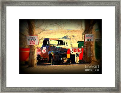 Route 66 Parking Lot Framed Print by Susanne Van Hulst