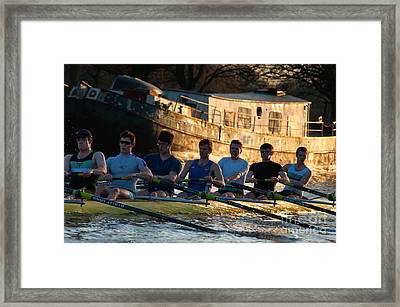 Rowers At Sunset Framed Print by Andrew  Michael