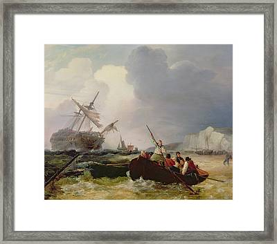 Rowing Boat Going To The Aid Of A Man-o'-war In A Storm Framed Print by George Chambers