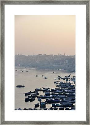 Rowing Boats On Ganges River Framed Print by Jessica Solomatenko