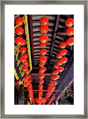 Rows Of Red Chinese Paper Lanterns - Shanghai China Framed Print by Christine Till