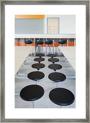 Rows Of Seats At Tables In The Dining Framed Print by Iain  Sarjeant