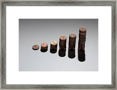 Rows Of Stacks Of Five Cent Euro Coins Increasing In Size Framed Print by Larry Washburn