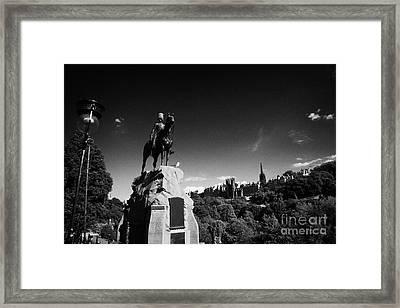 Royal Scots Greys Boer War Monument In Princes Street Gardens Edinburgh Scotland Uk United Kingdom Framed Print by Joe Fox