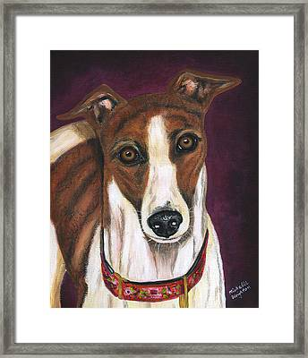 Royalty - Greyhound Painting Framed Print by Michelle Wrighton