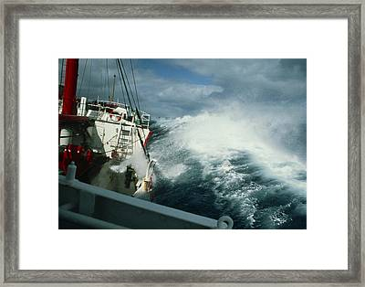 Rrs John Biscoe In Heavy Seas, Drake's Passage Framed Print by David Vaughan