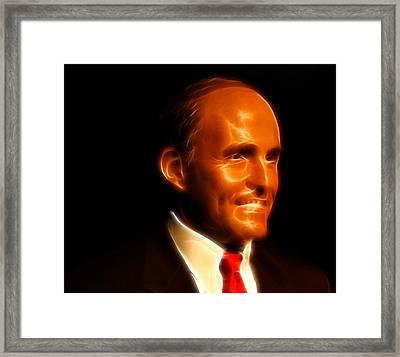 Rudy Giuliani - Rudolph William Louis Giuliani Framed Print by Lee Dos Santos